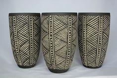 Sgraffito pots by Demon Potters