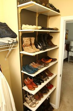 Adding shelving to one wall is a great way to keep all of your shoes together and have plenty of space for other things. This works best if ...