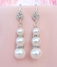 White Pearl Wedding Earrings