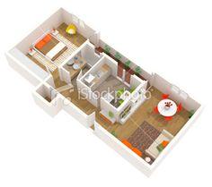 Apartment design - 3D floor plan of a contemporary interior