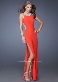 La Femme 19930 - Strawberry Beaded Jersey Halter Prom Dresses Online