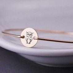 Owl Jewelry - Gold Owl Bangle Bracelet by georgiedesigns