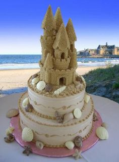 A Sandcastle Cake! This would be perfect at a beach-themed party!