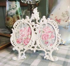 shabby chic white metal ornate picture frame by TheGirlyCottage, $32.00