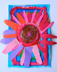 Flower craft. #flower #diy #craft #kids #children #preschool #prek #toddler #children #paint #rainyday #art #painting #constructionpaper #spring #springtime  #creative  #easy #simple #home #weekend #decor
