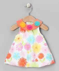 Take a look at this Orange Floral Bubble Dress - Infant by Vitamins Baby on #zulily today!