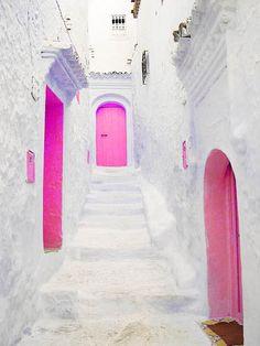 Hot pink doors
