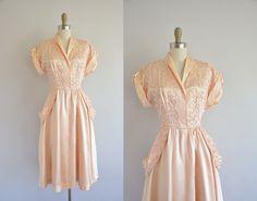 r e s e r v e d...1940s satin pink dress - vintage 40s dress - nude pink satin dress