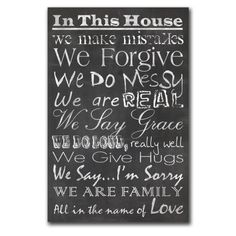Family Chalkboard Printed Canvas Art  -  Heartfelt sayings about what it means to be a family are printed on canvas that looks like a chalkboard. The canvas is wrapped around a frame and back stapled. Poster-sized canvas is ready to hang!