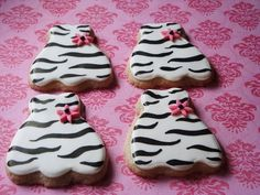 Fun Zebra Dress Cookies 1 dozen. $30.00, via Etsy.