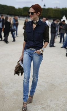 Great casual look. Love the shoes too. taylor tomasi, jean, edgy chic, sleev, street style, outfit, old shirts, shoe, la style