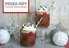 Polka Dot Painted Glass Mugs  #marthastewart, #ms_living  http://www.thecraftedsparrow.com/