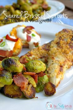 Seared Brussel Sprouts with Bacon and Vinaigrette, baked parmesan chicken and twice baked potatoes, the perfect budget meal! #RollIntoSavings #shop