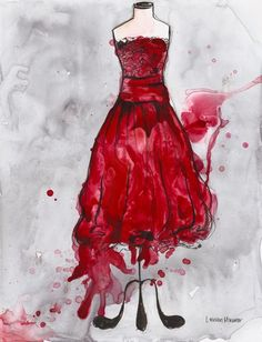 Print -Watercolor and Ink Painting - Vintage Red Lace Dress - 10x13