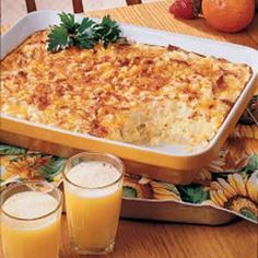 Hashbrown, bacon, egg and cheese casserole.