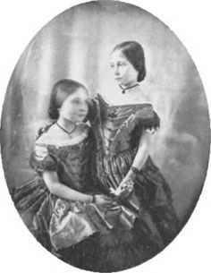 Victoria, the Princess Royal, future mother of Kaiser Wilhelm II, with her younger sister, Princess Alice, future mother of Alexandra, last Czarina of Russia.