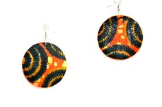 Orange  African Fabric Cover Earrings African by ZabbaDesigns
