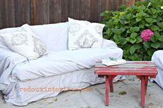 Trashy Tuesday.  Use curbside couches and wrap them with drop cloths for a quick and cheap solution to outdoor furniture.  Have a tarp ready to cover if you live where you get summer rain.  This project couldn't have been easier!  REDOUXINTERIORS.COM FACEBOOK: REDOUX