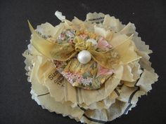Tissue pattern paper brooch by Recycled-Fashion