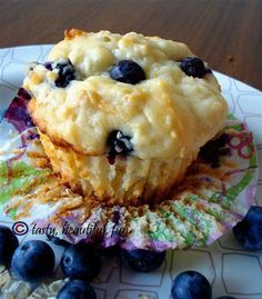 """Power"" muffins - with Greek yogurt, oatmeal, and blueberries!"