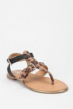 leopard t-strap sandal
