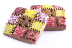 Polymer clay buttons large square patchwork quilt old by Cofanetto