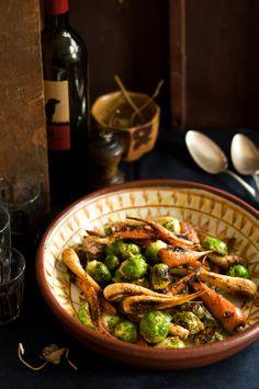 Caramelized Root Veggies & Warm Mustard Vinaigrette.