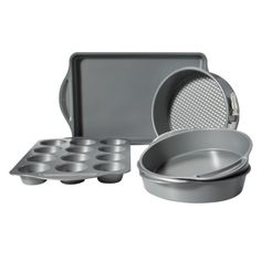 Baked Goodies! My 5 piece bakeware set available from Target online...perfect for baking muffins, cakes, cheesecakes and more! All have nonstick coating and are chip/rust/heat resistant.
