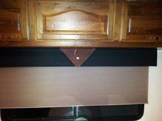 Motorhome - Handmade Window boxes - black and brown vinyl, upholstery tacks and harley symbol