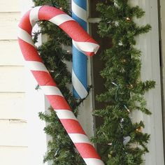 holiday, pool noodles, christmas decorations, noodl candi, candi cane