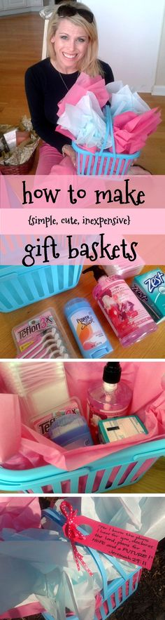 gift baskets tutorial with many ideas- great for lesson on giving