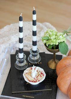A Fabulous Fete: striped halloween candlestick // diy