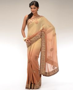 Ombre Beige and Vanilla Cream Sari with Floral Embroidered Motifs - Exclusively In