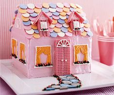 """Boxed #cake mix makes this Dollhouse so easy to """"build."""" Kids can help tile the roof with candy wafers!"""