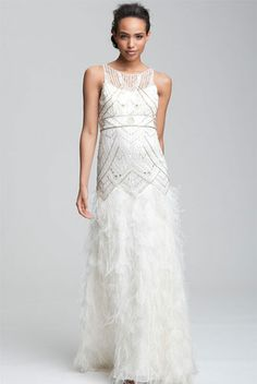 Sue Wong Feather Beaded Gown, $798, available at Nordstrom.
