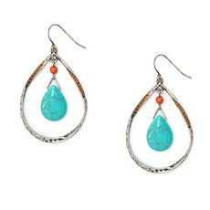 Hammered Antique Silver and Turquoise Teardrops Drop Earrings