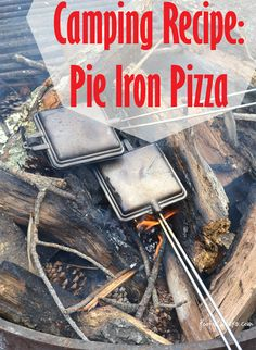 Camping Recipe - Pie Iron Pizza. ---- I must pick up a couple of these pans to try.