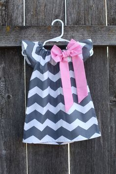 Gray Chevron Pink Bow Peasant Dress  Baby by MooseBabyCreations, $30.00