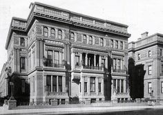 "640 Fifth Ave. | New York, NY. Designed by John B. Snook and decorator C. B. Atwood for William H. Vanderbilt, the ""twin mansions"" took up the entire block. Wm occupied the southern half; two of his daughters the northern half. Wm.'s home was left to his son George W. Vanderbilt but because G. W. had no sons, it passed to Cornelius Vanderbilt III, eldest son of Cornelius Vanderbilt II, who had been disinherited by his father. Mrs. C.V. II (Grace Wilson) lived there until 1944. Since demolished."