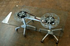 Film Reel Coffee Table on Casters