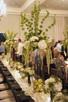 green and white fall arrangements | hydrangea, bells of Ireland, hanging amaranthus