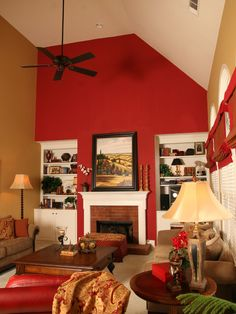 Red Accent Wall Design    @Kendra Ellenberger       -   I don't know what your room looks like that you were considering painting but have you thought of doing an accent wall in the red?