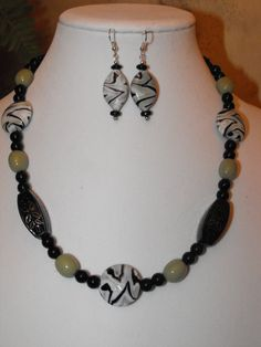 Lampwork necklace and earring set  Black green by NoresanDesigns, $16.99