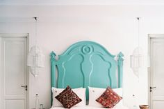 I have a headboard already, but I do love this color pop!