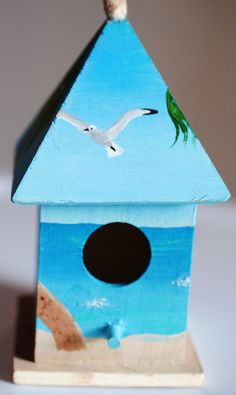 Beach-themed mini birdhouse :) Painted by me, available for purchase on Etsy! $20.00