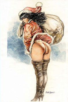 Serpieri Christmas Comic Art art work, christma comic, serpieri christma, christmas, fantasi art, comic art, erot art, comics, druuna