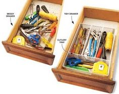 Use cutlery organizers to store tools neatly in drawers