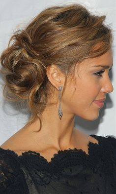 Jessica Alba's Textured Updo Hairstyle - Click image to find more hair posts