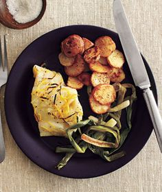 roasted cod and scallions with spiced potatoes