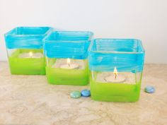 lime green and turquoise wedding | Wedding Candle Holders, Aqua and Lime Green, by Green Orchid Design ...